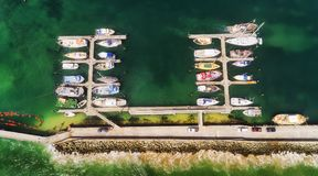 D Apollo bay marina Top Down. Enclosed protected artificial harbour for town marina yachts and vessels in regional Apollo bay on Great ocean road - aerial top royalty free stock photo