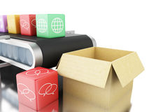 3d App icons on conveyer belt. Royalty Free Stock Photo