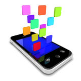 3d App icons float off the screen of smartphone Stock Photo