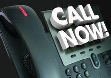 D'appel la publicité d'ordre de service client de téléphone de bureau maintenant Photographie stock
