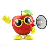 3d Apple announcement. 3d render of an apple character with a loud hailer Royalty Free Stock Photos