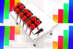 3d Apple auf Tabellen-Illustration Lizenzfreie Stockbilder