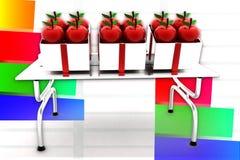 3d Apple auf Tabellen-Illustration Stockbild