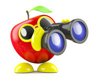 3d Apple with binoculars. 3d render of an apple character looking through a pair of binoculars Stock Photos