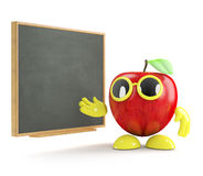 3d Apple by the blackboard Stock Photography