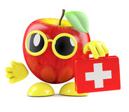 3d Apple brings first aid. 3d render of an apple holding a first aid kit Stock Photos