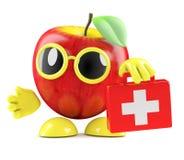 3d Apple brings first aid Stock Photos