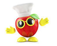 3d Apple chef. 3d render of an apple character wearing a chefs hat Stock Photos