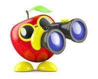 3d Apple con il binocolo Fotografie Stock