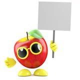 3d Apple con il cartello Fotografie Stock Libere da Diritti