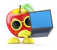 3d Apple con il computer portatile Fotografie Stock