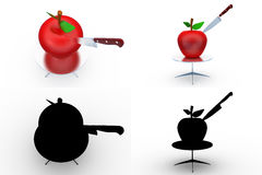 3d apple cut concept collections with alpha and shadow channel Stock Image