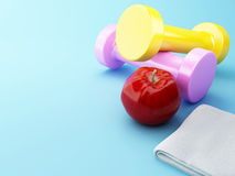 3D An apple with dumbbells and towel. Stock Images