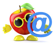 3d Apple email. 3d render of an apple character with an email address symbol Royalty Free Stock Photos