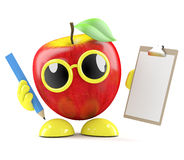 3d Apple fa una lista Fotografia Stock Libera da Diritti