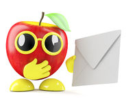 3d Apple gets mail. 3d render of an apple holding an enevelope Royalty Free Stock Photo