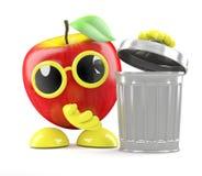 3d Apple getta fuori i rifiuti Fotografie Stock Libere da Diritti