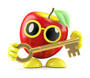 3d Apple gold key. 3d render of an apple character with a gold key Royalty Free Stock Images