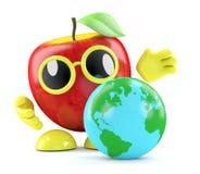 3d Apple ha un globo della terra Fotografie Stock