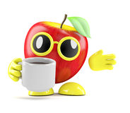 3d Apple has a coffee break Royalty Free Stock Images