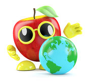 3d Apple has a globe of the Earth. 3d render of an appe looking at a globe of the Earth Stock Photos
