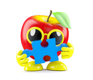 3d Apple has a piece of the jigsaw puzzle. 3d render of an apple holding a piece of jigsaw puzzle Stock Photo