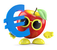 3d Apple holds a Euro currency symbol. 3d render of an apple with a Euro currency symbol Stock Images