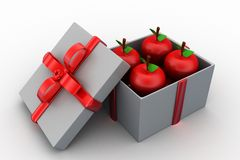 3d apple inside gift box Royalty Free Stock Photography