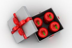 3d apple inside gift box Stock Photo
