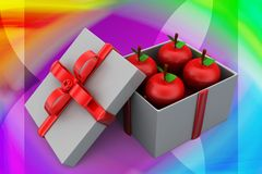 3d apple inside gift box illustration Royalty Free Stock Photography