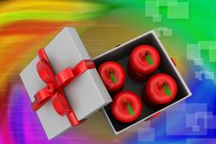 3d apple inside gift box illustration Royalty Free Stock Images