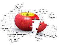 3d Apple jigsaw puzzle Royalty Free Stock Photography