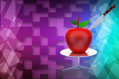 3d apple with knife illustration Stock Image