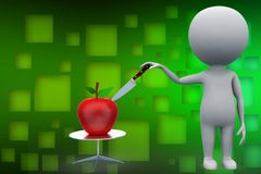 3d apple with knife illustration Royalty Free Stock Image