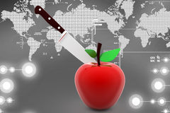 3d apple knife illustration Royalty Free Stock Photography