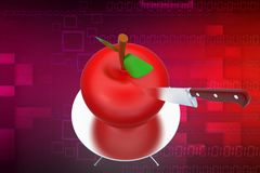 3d apple with knife illustration Stock Photography