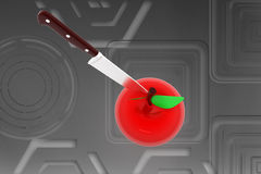 3D apple knife illustration Stock Photography