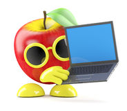 3d Apple with laptop. 3d render of an apple using a laptop Stock Photos