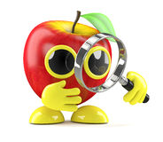 3d Apple magnifying glass. 3d render of an apple character with a magnifying glass Stock Image