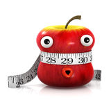 3d Apple is measured. 3d render of an apple with a tape measure wrapped round Royalty Free Stock Images