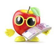 3d Apple paga con le euro banconote Fotografia Stock