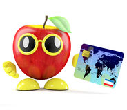 3d Apple pays by debit card. 3d render of an apple using a debit card Royalty Free Stock Image