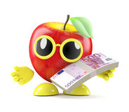 3d Apple pays with Euro bank notes. 3d render of an apple holding a stack of Euro bank notes Stock Photo