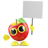 3d Apple with placard Royalty Free Stock Photos