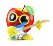 3d Apple plays electric guitar. 3d render of an apple playing on an electric guitar Stock Images