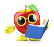 3d Apple reads a book Stock Image