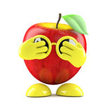 3d Apple is scared. 3d render of an apple with its hands over its eyes Stock Photography