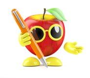 3d Apple scrive con una penna Fotografie Stock