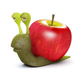 3d Apple snail. 3d render of a snail with an apple instead of a shell Stock Photography
