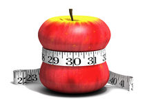 3d Apple squeezed by tape measure. 3d render of a red apple qith a tape measure wrapped round it Stock Photography